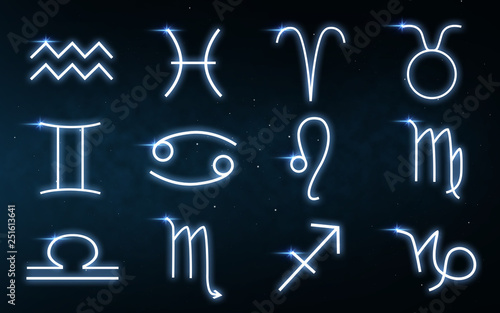 Fotografering  astrology and horoscope - set of zodiac signs over dark night sky with stars bac
