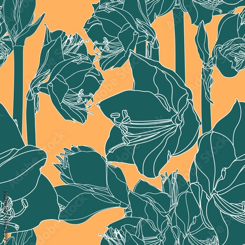 Foto auf Leinwand Künstlich Hippeastrum lilly blooming flowers seamless pattern. Green line flowers on yellow background.