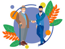 An Old Man Shakes Hands With A Young Guy. Old Age And Youth. In Minimalist Style. Flat Isometric Vector