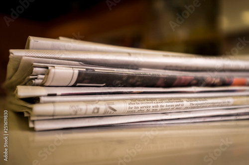 Fotografie, Obraz  Pile of Newspapers from the United Kingdom