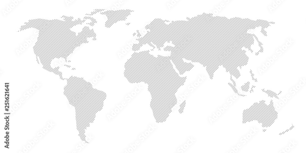 Fototapety, obrazy: Illustration and pictogram of gray hatched map of the world.