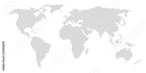 Obraz Illustration and pictogram of gray hatched map of the world. - fototapety do salonu
