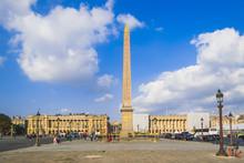PARIS, FRANCE - 02 OCTOBER 2018:Obelisk Monument With Blue Sky At Place De La Concorde Paris, France