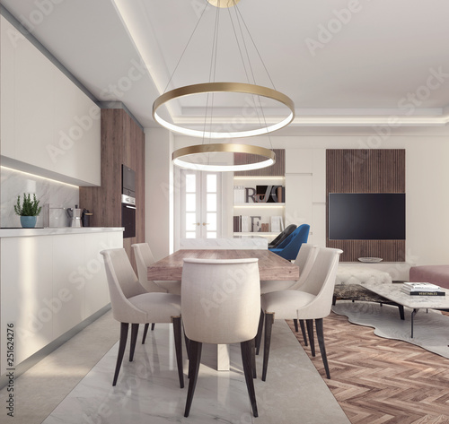 Obraz Modern interior design of small apartment 3D Rendering - fototapety do salonu