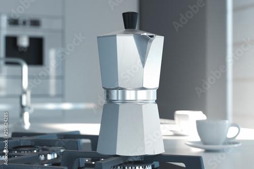 Fototapeta Geyser coffee maker on the kitchen. 3d rendering