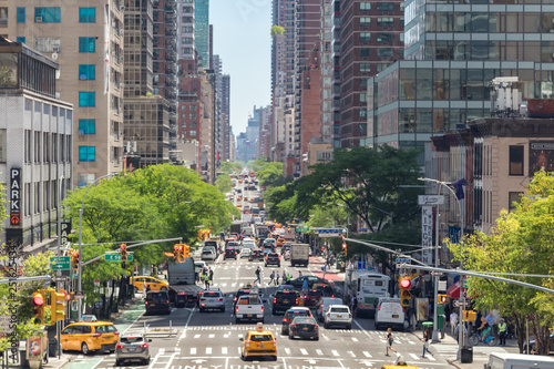 Photo Stands New York Overhead view of Second Avenue in Manhattan, New York City