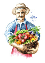 Senior Farmer With Freshly Picked Vegetables In Basket. Watercolor Hand Drawn Illustration, Isolated On White Background
