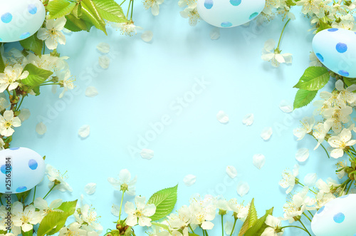 Canvas Prints Countryside Easter blue background, with eggs Spring concept. Easter