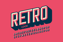 Modern Retro Style Font Design, Retro Look Alphabet Letters And Numbers