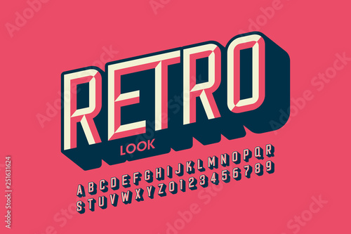 Plakaty retro  modern-retro-style-font-design-retro-look-alphabet-letters-and-numbers