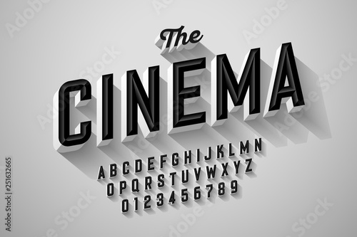 Photo Old movie title vintage font design, retro style alphabet letters and numbers