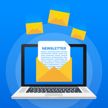 Envelope With A Newsletter Concept. Open Message With The Document. Subscribe To Newsletter Concept. Vector Illustration.