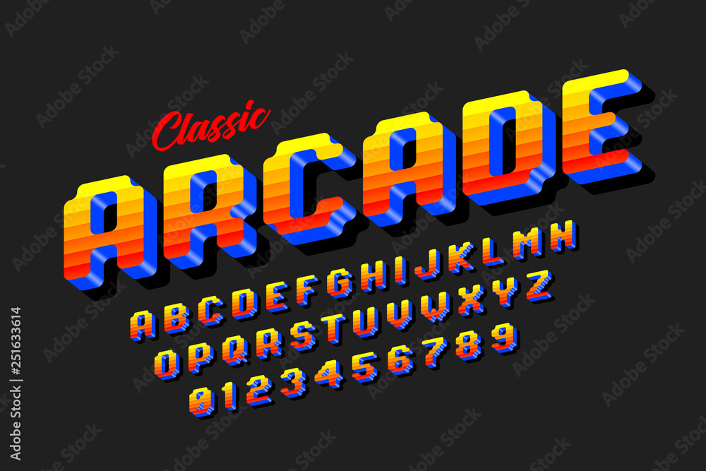 Fototapeta Retro style arcade games font, 80s video game alphabet letters and numbers