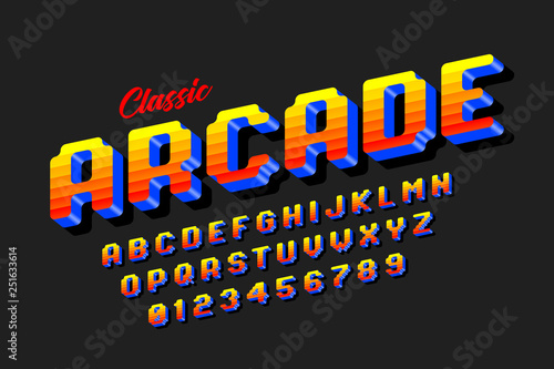 Retro style arcade games font, 80s video game alphabet letters and numbers Fototapet