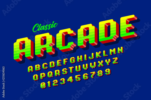 Retro style arcade games font, 80s video game alphabet letters and numbers Wallpaper Mural