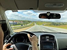 Point Of View Of A Driver Brazil Highway