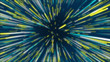 canvas print picture - Blue, yellow and green abstract radial lines geometric background. Data flow tunnel. Explosion star. Motion effect. background