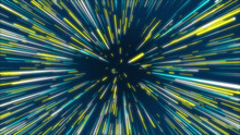 Blue, Yellow And Green Abstract Radial Lines Geometric Background. Data Flow Tunnel. Explosion Star. Motion Effect. Background