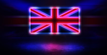 Neon United Kingdom Flag On Ol...