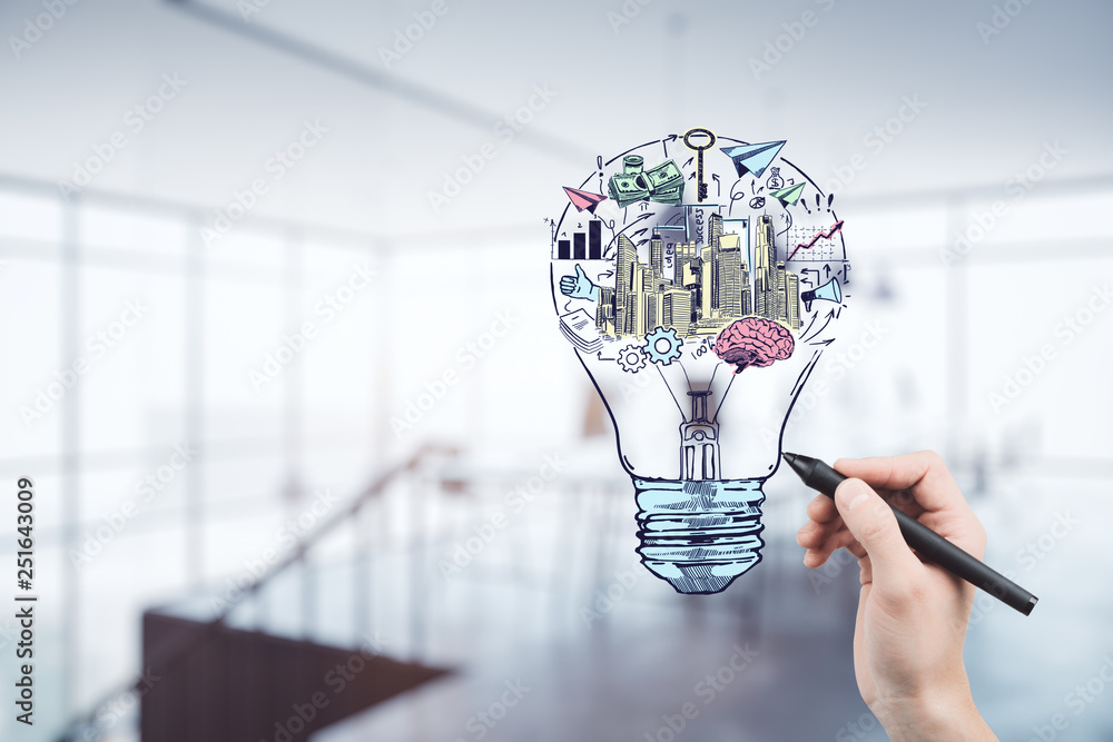 Fototapety, obrazy: Hand drawing business idea concept on office background.