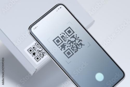 Modern stylish mobile phone scanning QR code on white box Canvas-taulu