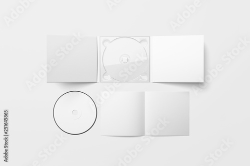 Obraz Realistic CD disc and carton packaging cover template mock up. Digipak case of cardboard CD drive. With white blank for branding design or text. isolated on soft gray background.3D rendering. - fototapety do salonu