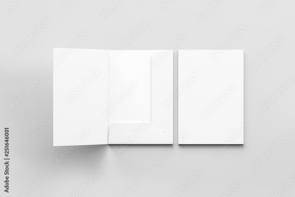 Fototapety, obrazy: Realistic A4 size single pocket reinforced Folder with business card mock up isolated on soft gray background.Simple Folders with two leaf .3D rendering.