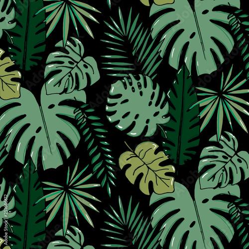Beach Cheerful Pattern Wallpaper Of Tropical Dark Green Leaves Of