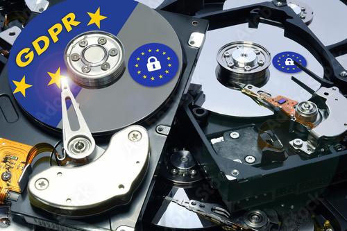 Fotografia  GDPR hard disk with padlock icon - General data protection regulations - GDPR lo