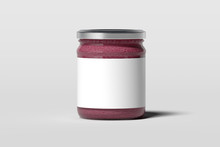 Jam Jar With Blank White Emblem Isolated On White Background, 3d Rendering.