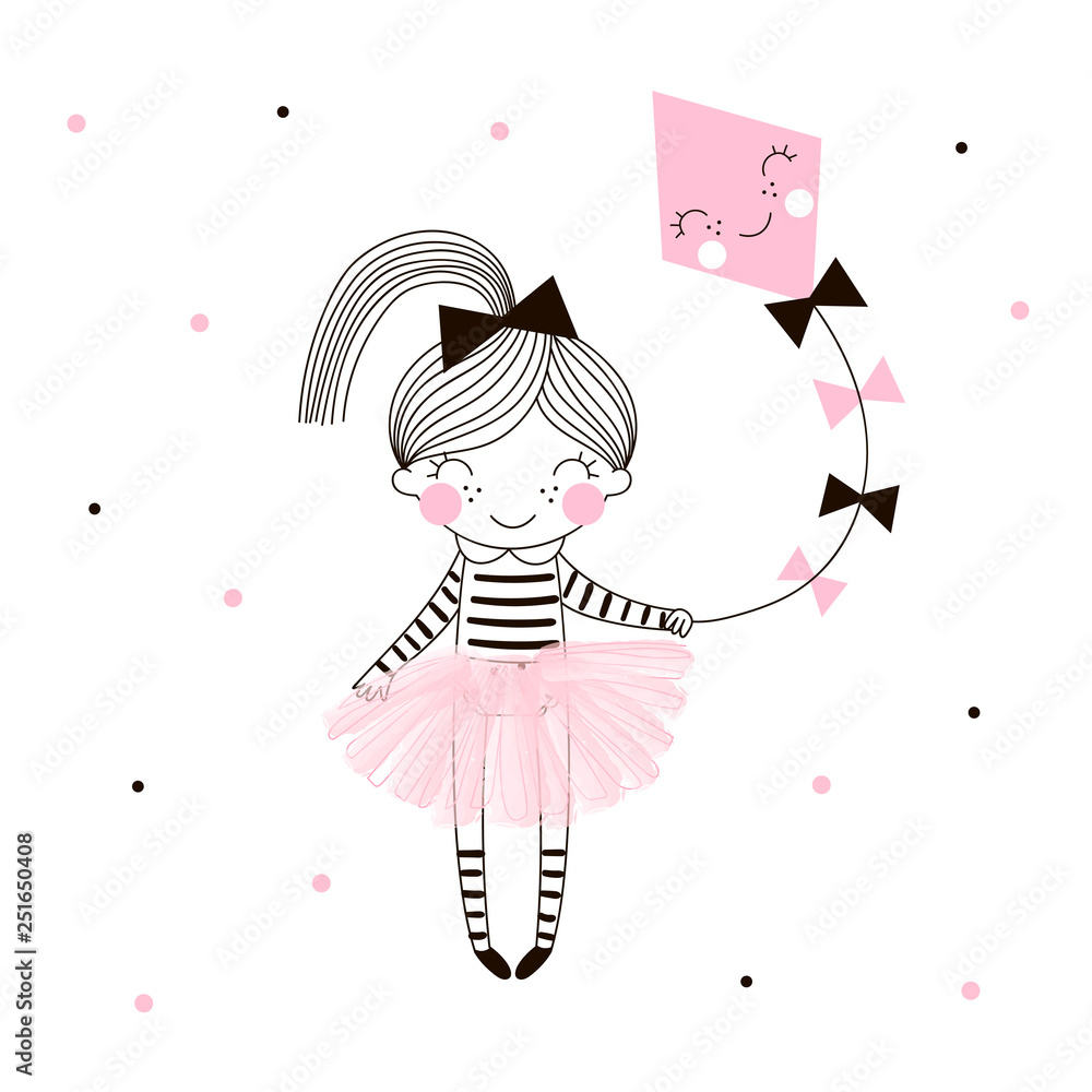 Fototapeta Cute little girl in pink ballerina skirt flies a kite drawn on dotty background. Simple minimalistic vector doodle illustration for girls. Perfect for textile apparel t-shirt print, wall art, poster