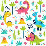 Fototapeta Dinusie - Seamless pattern with cute dinosaurs for children print. Vector