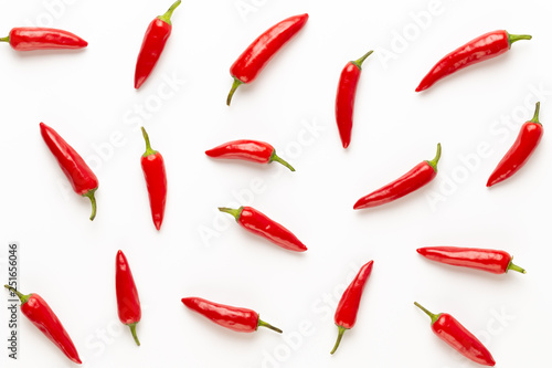 Deurstickers Hot chili peppers Chili or chilli cayenne pepper isolated on white background cutout.