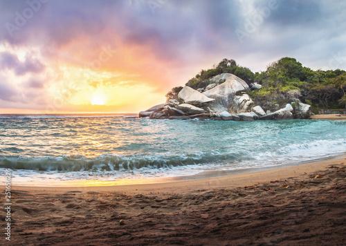 Obraz na plátně  Tropical Beach at Sunrise in Cape San Juan - Tayrona National Park, Colombia