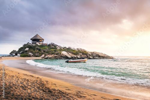 Fototapeta  Tropical Beach at Sunrise in Cape San Juan - Tayrona National Park, Colombia