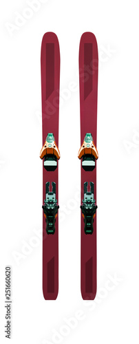 Pair of mountain skis with bindings. Sport equipment isolated on white background