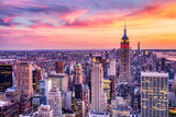 Fototapeta New York - New York City Midtown with Empire State Building at Amazing Sunset