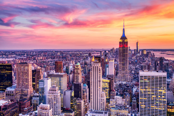 Panel Szklany Nowy York New York City Midtown with Empire State Building at Amazing Sunset