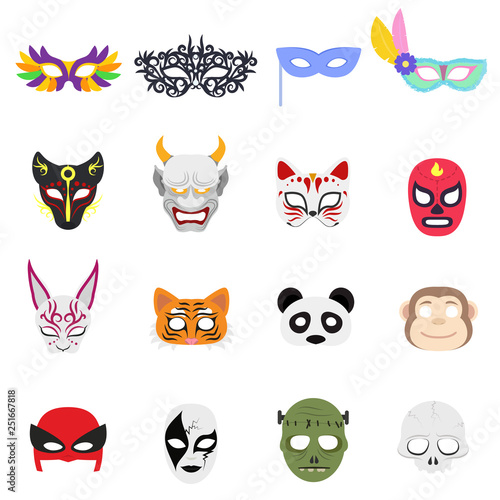Various themed masks on the face Wallpaper Mural