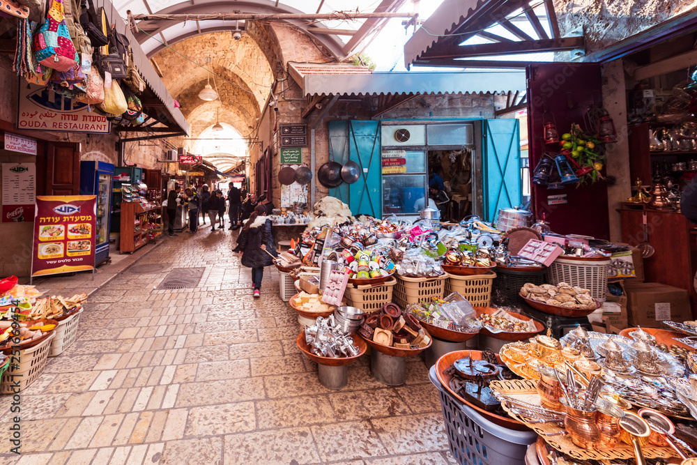 Fototapety, obrazy: The Arabic suq in the historic old city of Akkon, Israel., Middle East