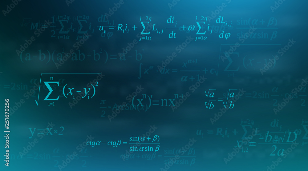 Fototapety, obrazy: Creative vector illustration of math equation, mathematical, arithmetic, physics formulas background. Art design screen, blackboard template. Abstract concept graphic element