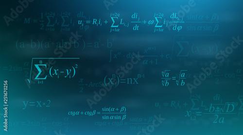 Photo Creative vector illustration of math equation, mathematical, arithmetic, physics formulas background