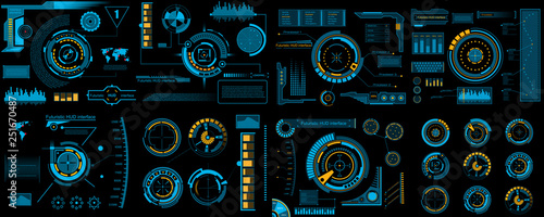 Fotografía  Creative vector illustration of HUD interface elements set, infographics Sci Fi isolated on transparent futuristic background