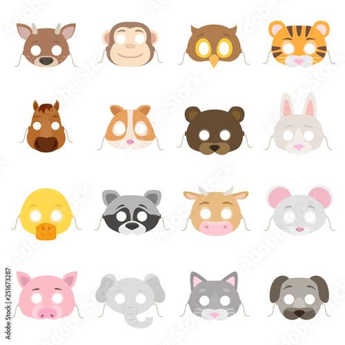 Animal masks set Canvas Print