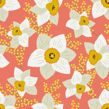 Seamless Pattern With White Daffodils And Yellow Mimosa On A Peach Pink Background. Floral Background. Vector Illustration.