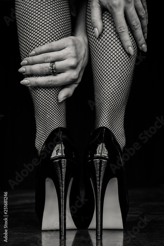 Fotografia, Obraz Woman legs in black stockings and high heels shoes
