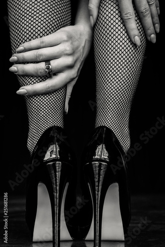 Fotografie, Obraz  Woman legs in black stockings and high heels shoes