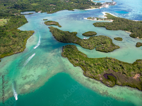 Mauritius aerial photo. Island with beautiful beaches. 2019 Wallpaper Mural