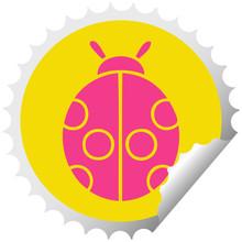 Circular Peeling Sticker Cartoon Lady Bug