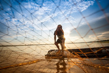 Asia Fisherman Net Using On Wooden Boat Casting Net Sunset Or Sunrise In The River